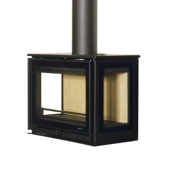 Wanders Square 60 Trilateral Wall Mounted 7Kw Wood Burner