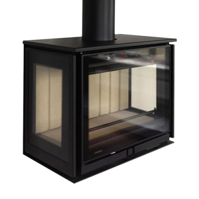 Wanders Square 68 Trilateral Wall Mounted 8Kw Wood Burner