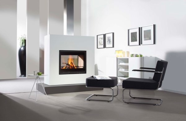 Wanders Square 75 Tunnel 15Kw Double Sided Wood Burning Inset
