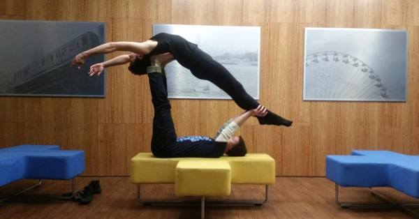 ManCave Does Acro Yoga!!!