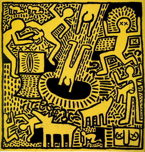 Keith Haring, Untitled, 1981  -  yellow background, black line drawn figures in motion
