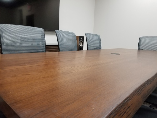 Live edge conference table closeup