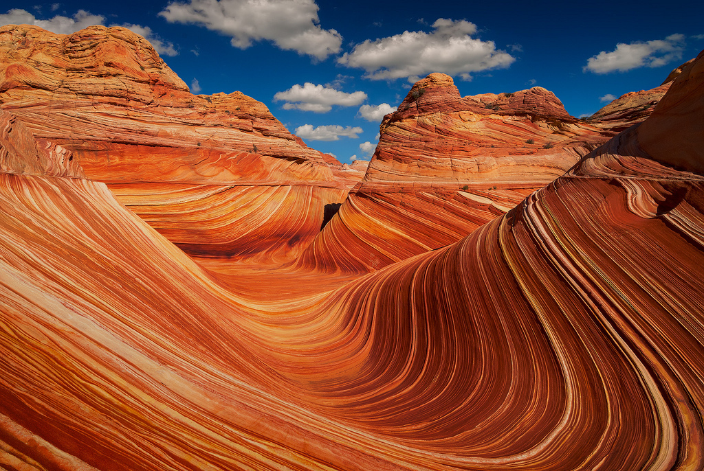The Wave in the Vermillion Cliffs National Monument of Arizona and Utah