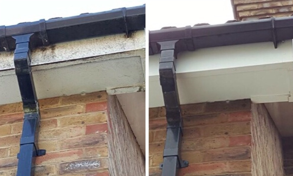 Before and after fascia & soffit cleaning