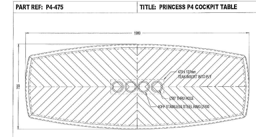 Princess V58 cockpit table