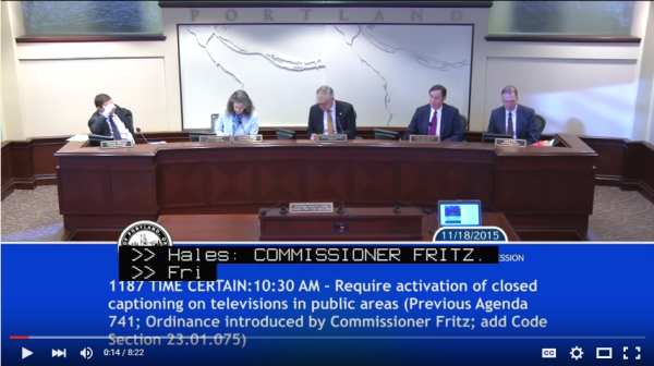 Captioned YouTube video of Portland City Council vote