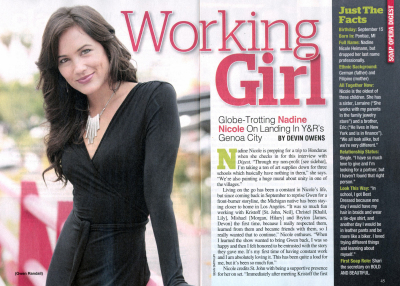 Soap Opera Digest Article on Nadine Nicole