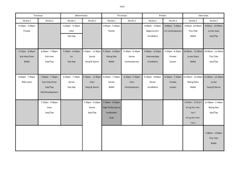 Dance Network 2016 Timetable