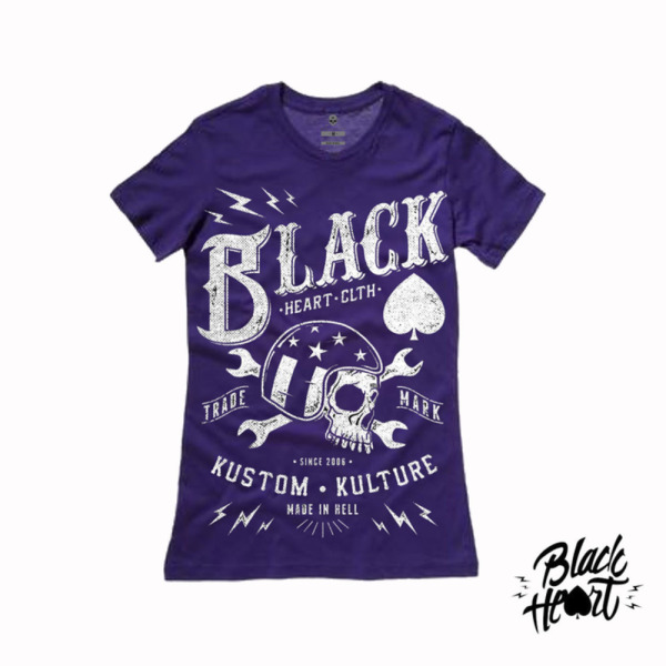 Black Heart Ladies Wrench Skull (purple) T Shirt £15.00