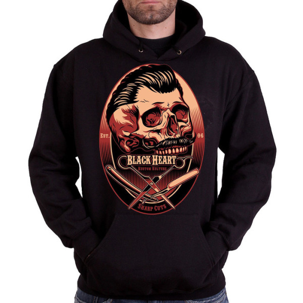 Black Heart Mens Barber Skull Pull On Hoody £25.00