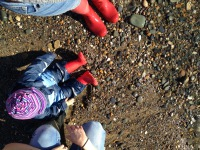 Wellie boots on beach
