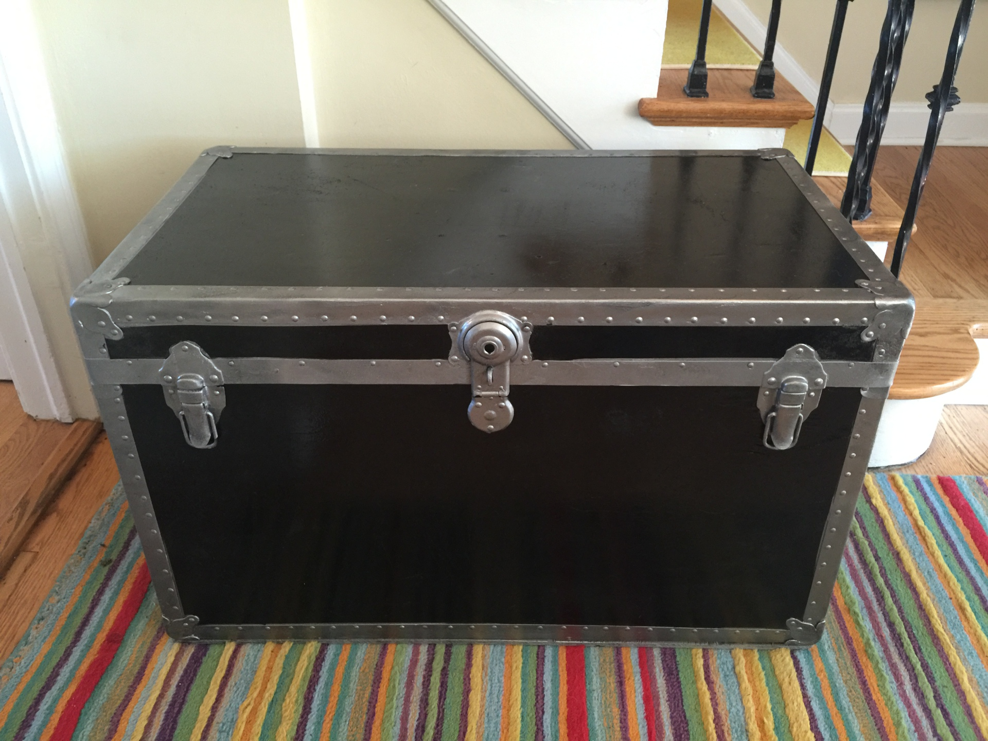 SOLD - Black Trunk with Silver