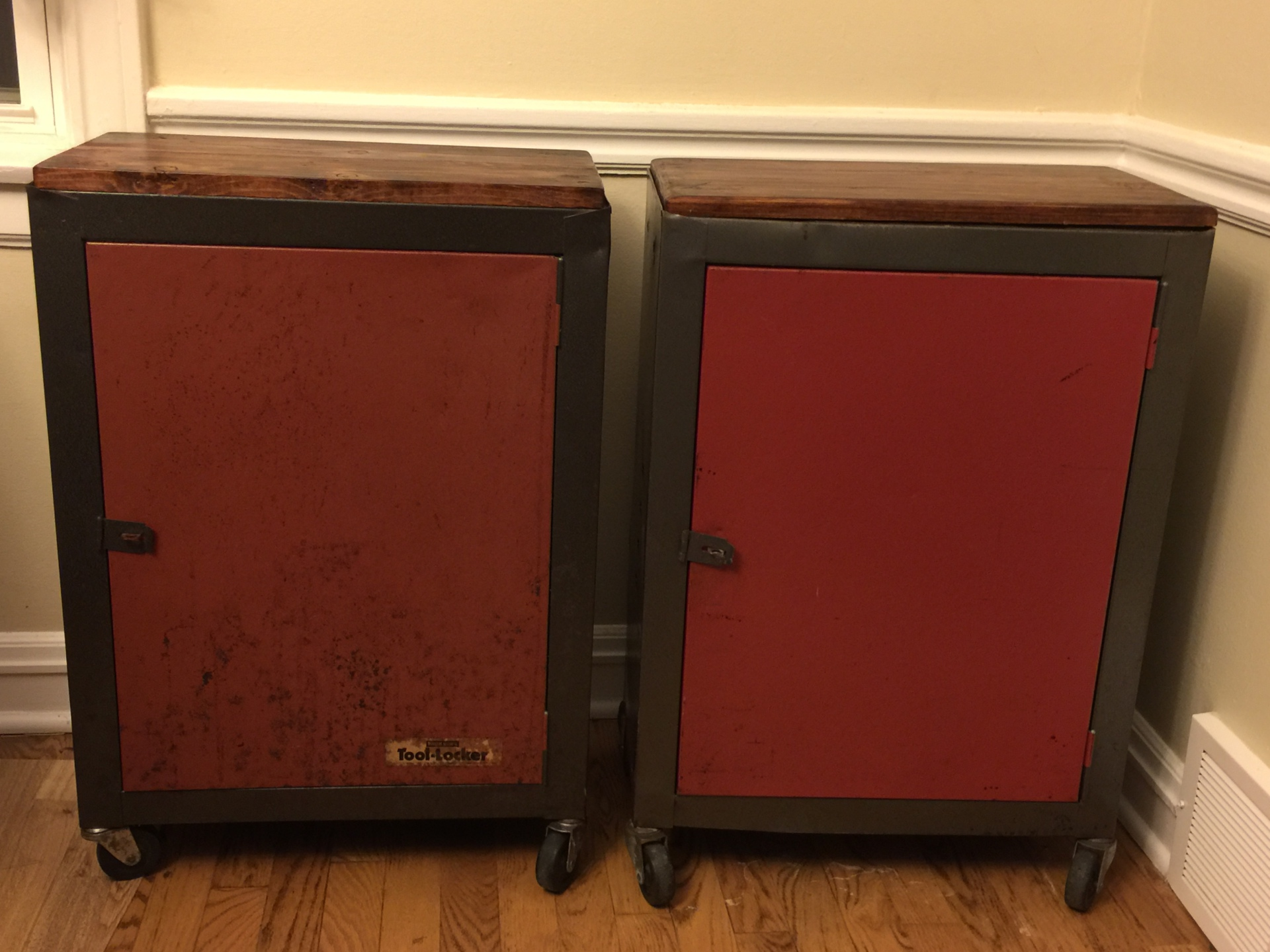 Sold - Red Machine Tool End Tables $250/pair