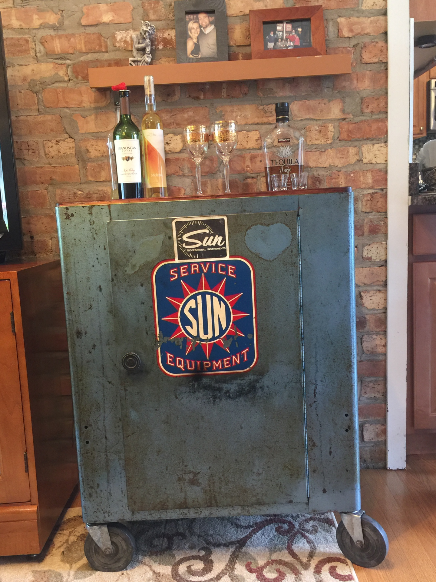 SOLD - Blue Automotive Cabinet with reclaimed wood top $725