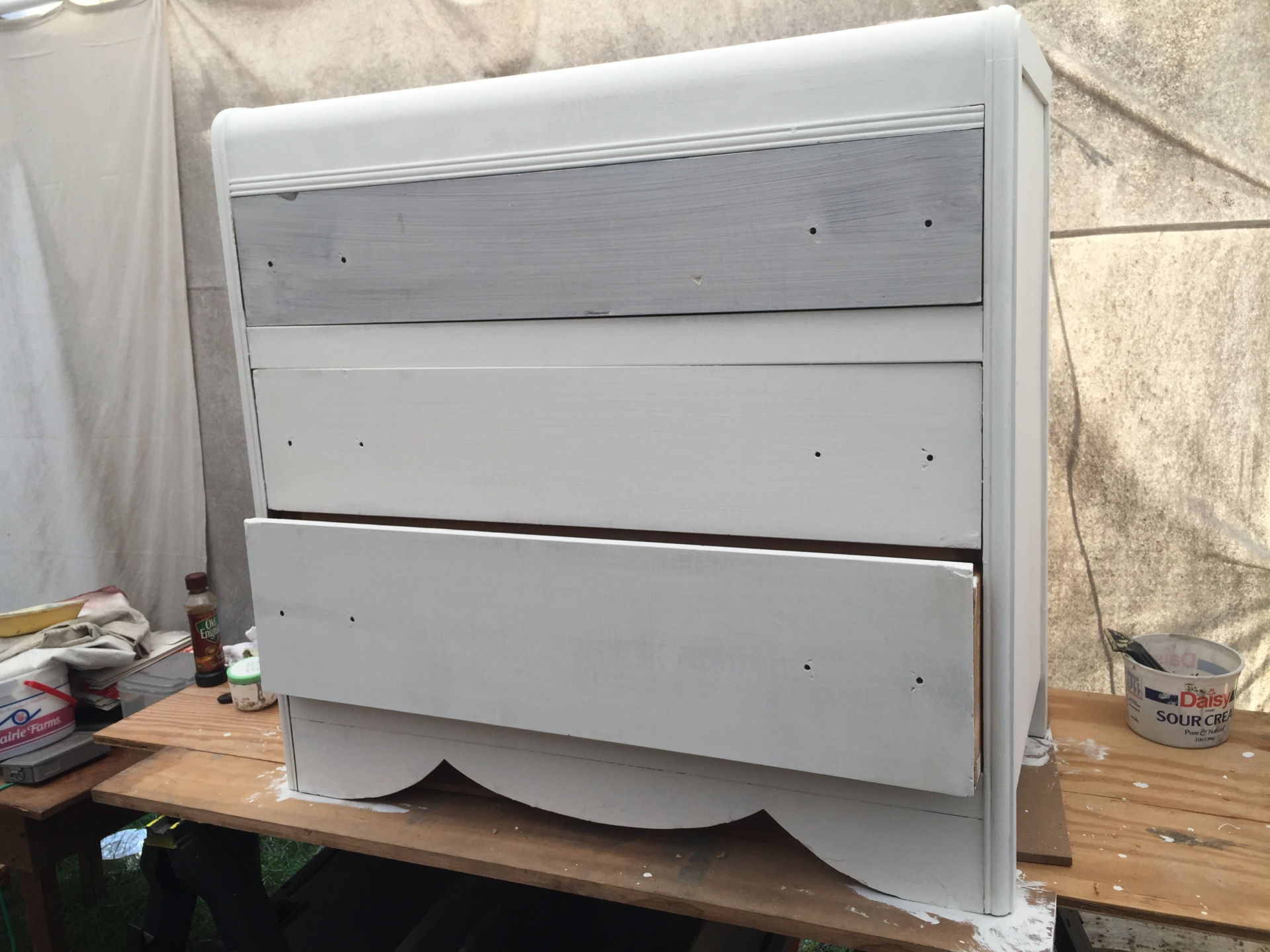 Large dresser $175 (Work in process!) White shabby chic.   Round mirror available