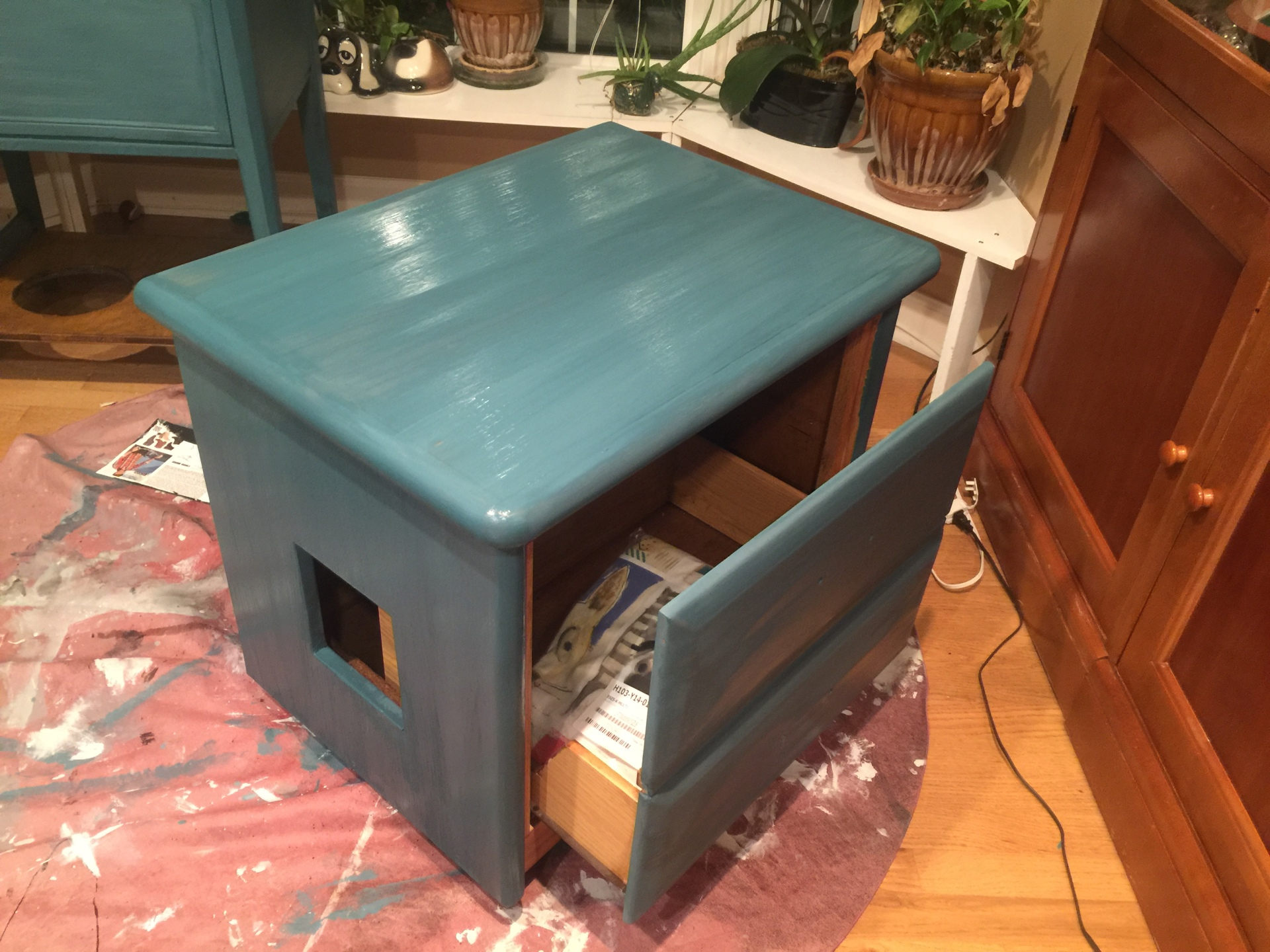 Turquoise $150 Two drawer converted to one for easy scooping