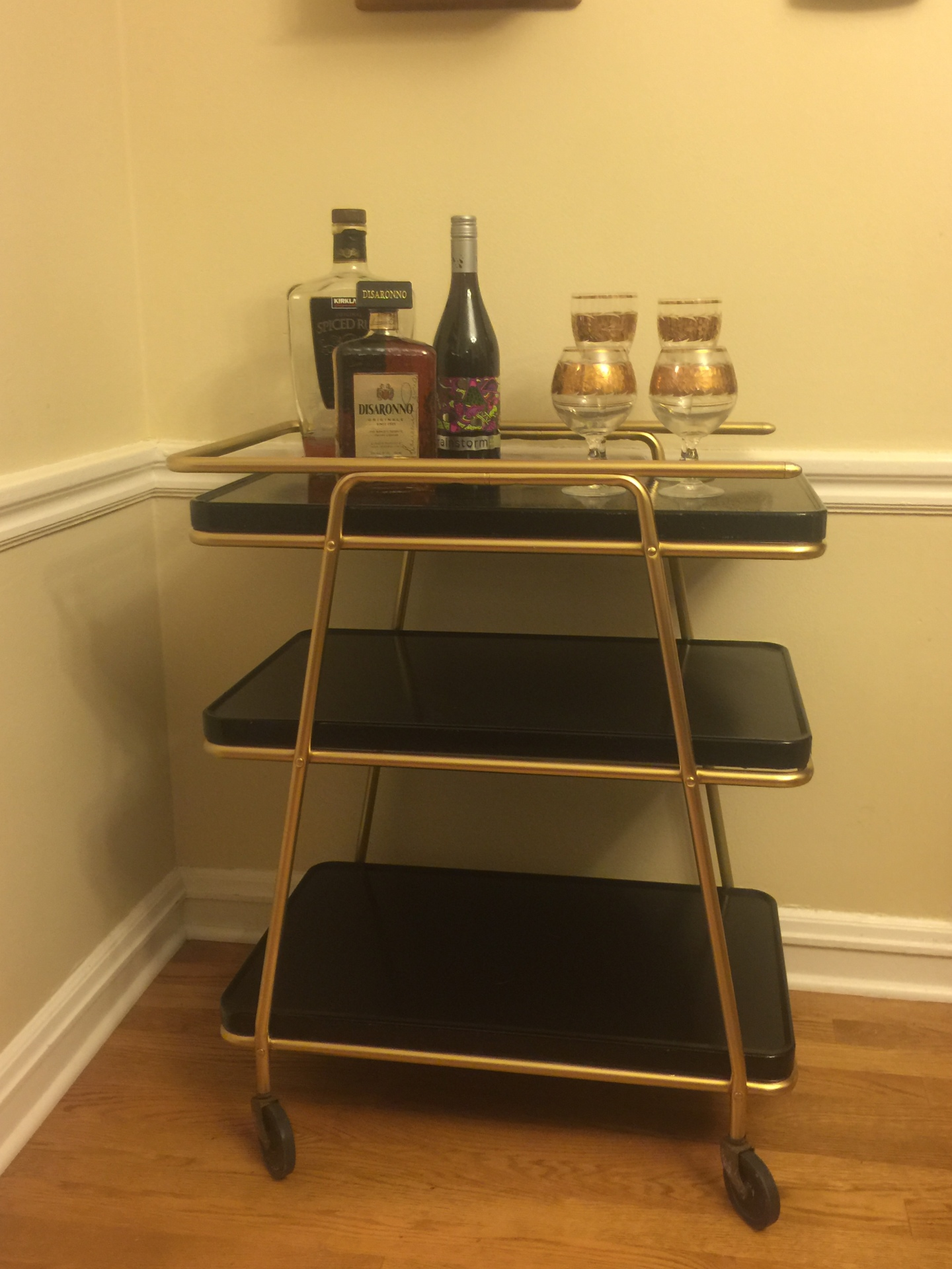 Black and Gold Bar Cart $175  metal