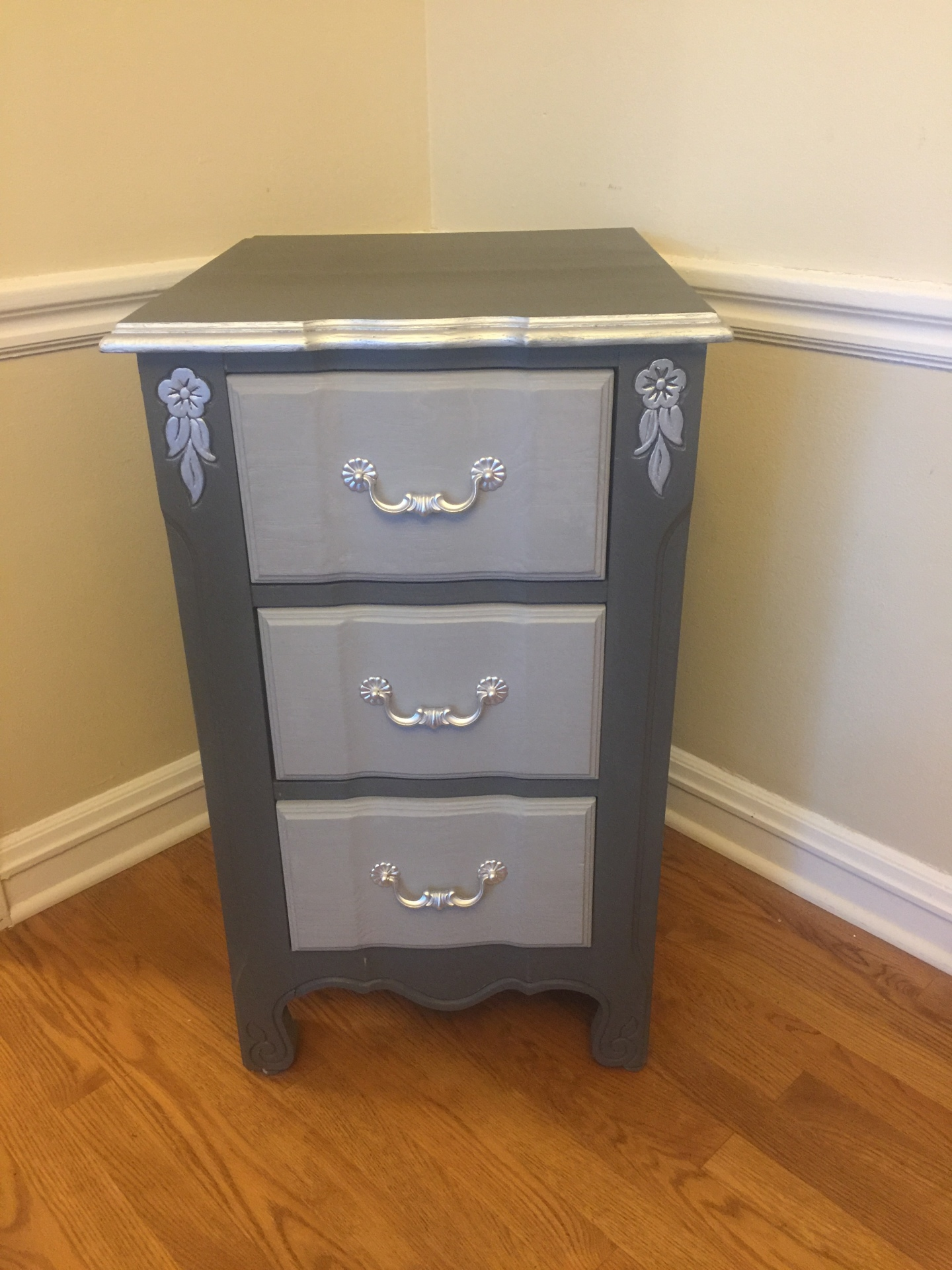 Gray Two-Tone Night Stand - $85