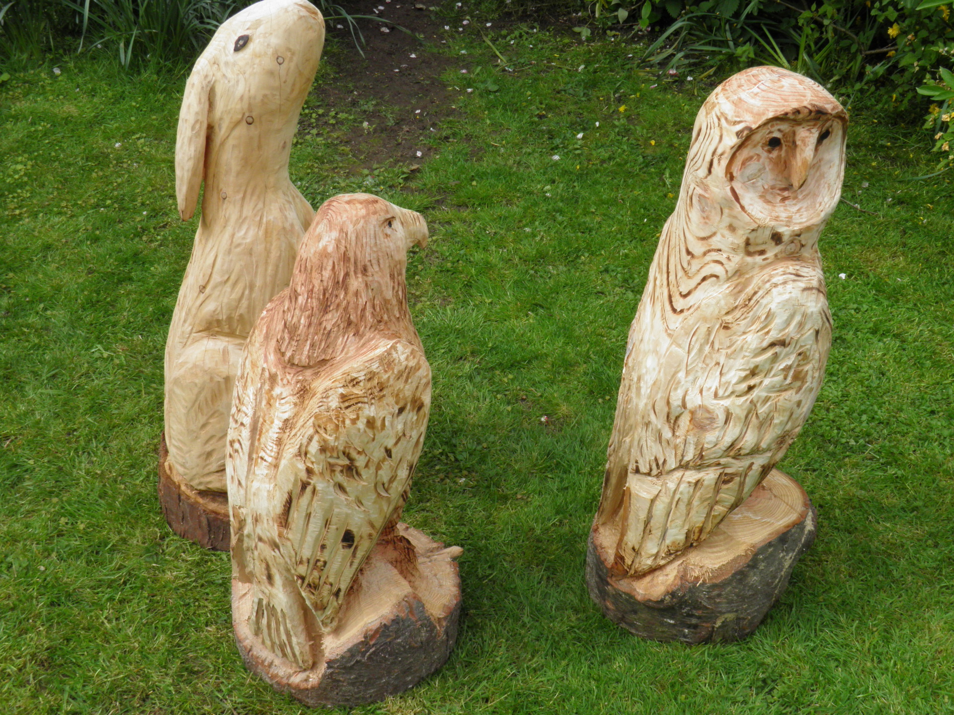 chainsaw carving owl eagle hare hedge laying