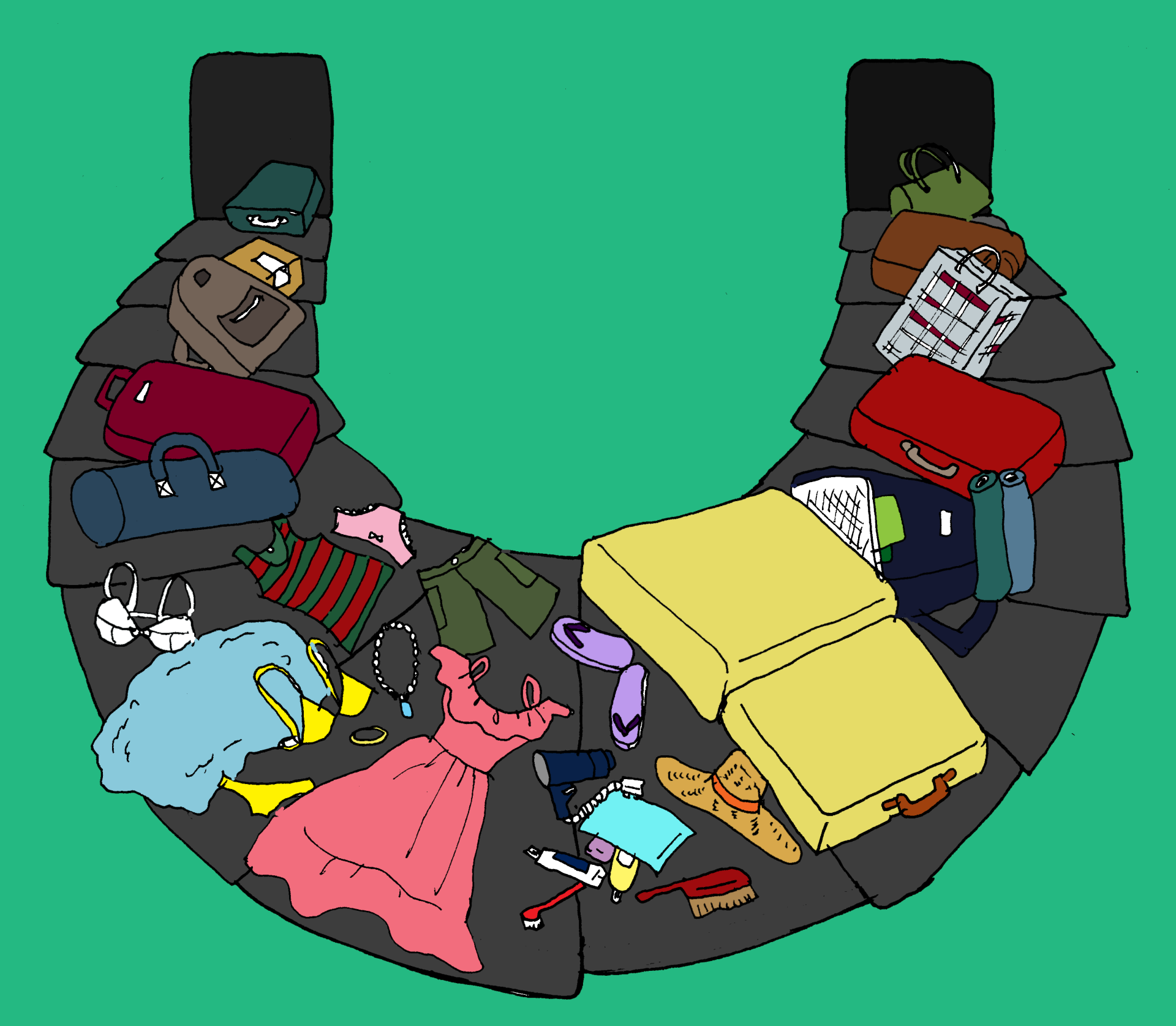 airport, baggage, baggage pick up, comic, nightmare, cartoon