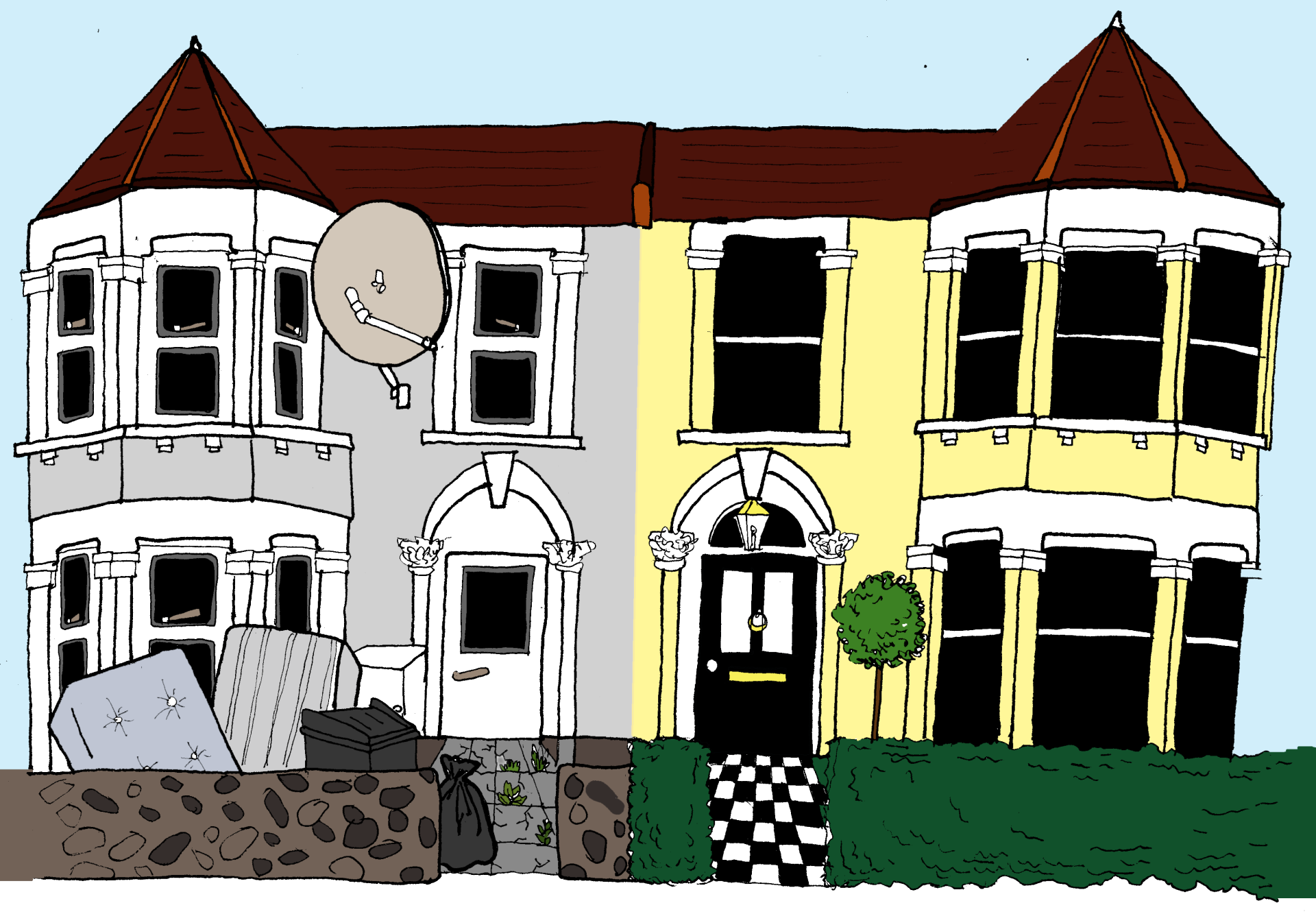 sociology, terraced house, London, diversity, rich and poor, comic, illustration,