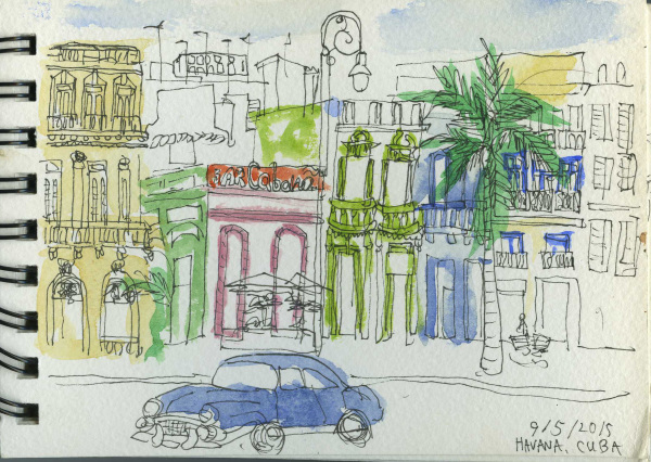 Havana, Cuba, Square, Holiday, Sketchbook, Watercolour, Pen