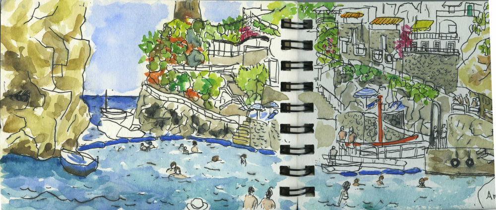 Italy, Amalfi Coast, Summer Holiday, Travel, Sketchbook, Watercolour, Pen, Sea