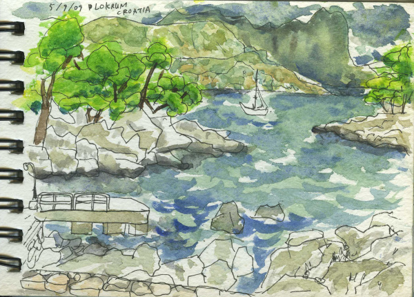 Croatia, Dubrovnik, Rugged, Seaside, Island, Travel, Sketchbook, Watercolour, Pen, Yacht,