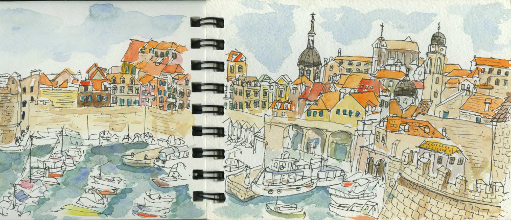 Croatia, Dubrovnik, Town Centre, Yachts, Summer Holiday, Travel, Sketchbook, Watercolour, Pen