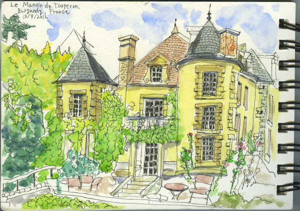 France, Manor House, Countryside, Watercolour, Sketchbook, Holiday