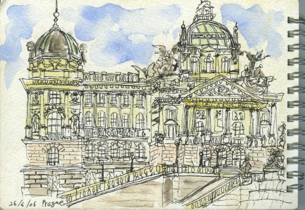 Prague, Palace, Intricate, Travel, Sketchbook, Watercolour, Pen,