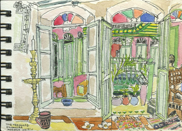 Morocco, Riad, Holiday, Sketchbook, Watercolour, Travel, Exotic
