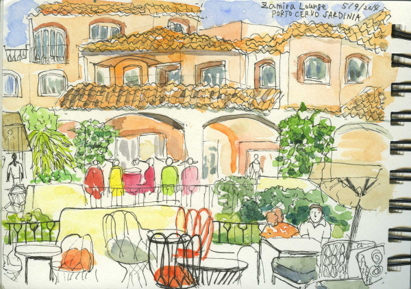 Sardinia, Porto Cervo, Summer Holiday, Travel, Sketchbook, Watercolour, Pen, Beer,