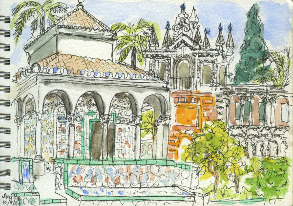 Spain, Andalucia, Seville, Palace, Mosaic, Tiles, Garden, Travel, Sketchbook, Watercolour, Pen