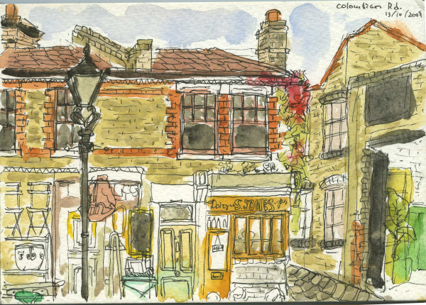 Columbia Road, Flower Market, Square, London, Sketchbook, Watercolour, Pen, Weekends