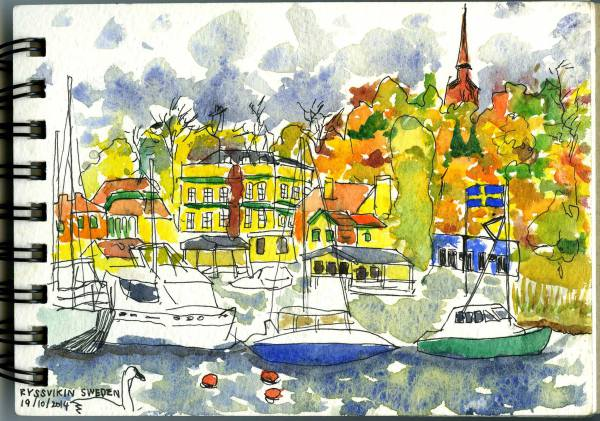 Sweden, Holiday, Sketch, Harbour, Watercolour,