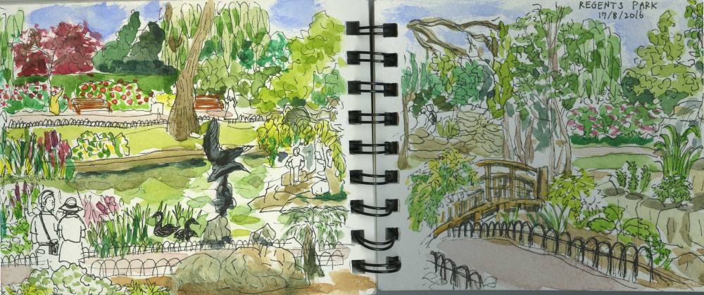 Regent's Park, London, Royal Park, Summer, Sketchbook, Watercolour, Pen, Lake, Fountain,