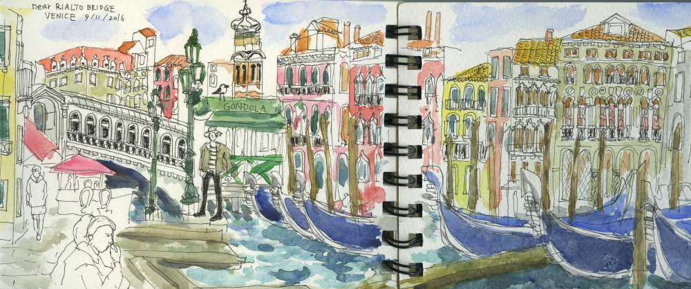 Venice, Grand Canal, Gondola, Rialto Bridge, Sightseeing, Holiday, Short Break, Sketchbook, Culture, Watercolour, Pen