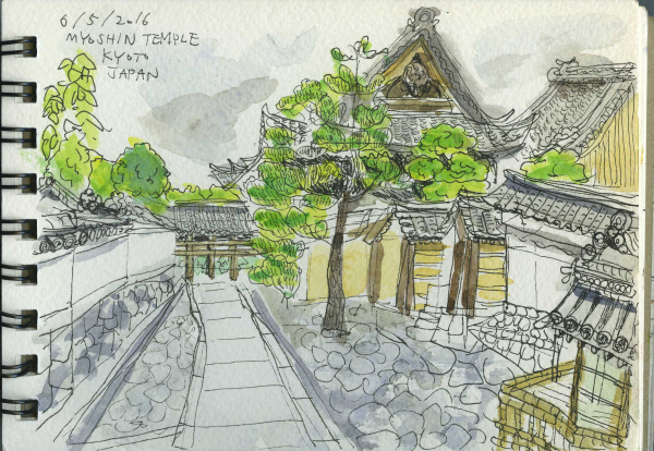 Japan, Kyoto, Meditation, Temple, Travel, Calm, Watercolour, Sketchbook, Pen