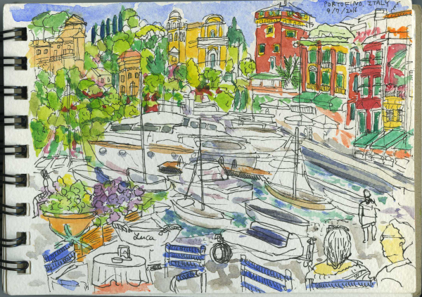 Portofino, Italy, Harbour, Cafe, Picturesque, Summer Holiday, Sketchbook, Watercolour, Pen