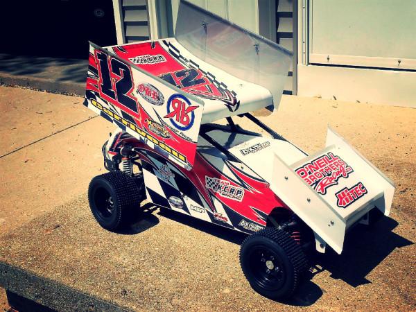 Bishop Racing Mini pins, RC sprint Car, Jeff Carriveau, Booster