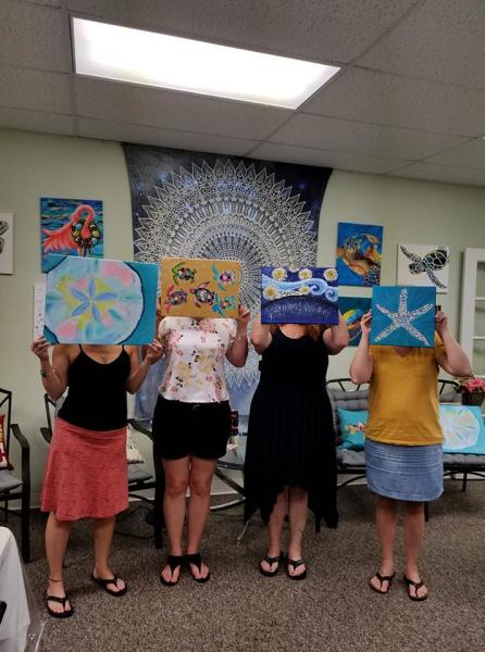 Wine and Paint Classes, Art, Designs, Pictures, Kids Parties, Black Light paint nights. Glow in the dark Paint party. Anzhelika Vardi, Girls Night out. Couple Paint Date. Blacklight fun. Wine Your Art Studio. Workshops. Register for a class by choosing a painting and making your payment.