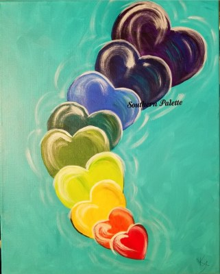 Hearts of Love-Level 2  $40 (7 hearts on 12x16 your color choice)