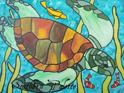 Stained Glass Sea Turtle-Level 3  $40