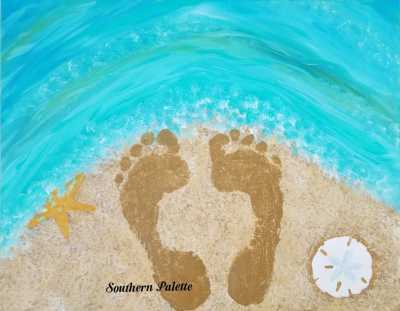 Your Actual Foot Prints in the Sand-Level 1 $40 (20x16)