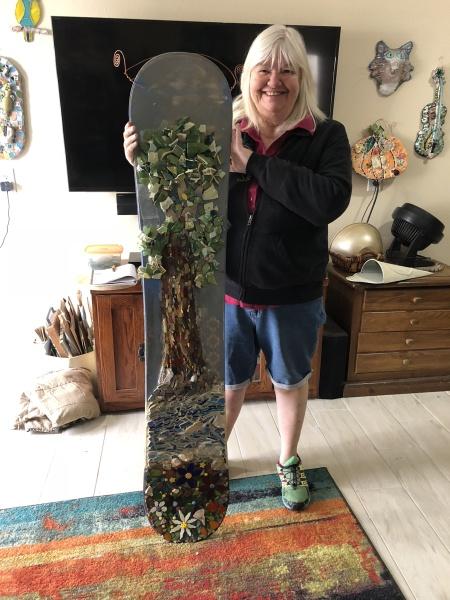 My mosaic redwood tree on a snowboard!