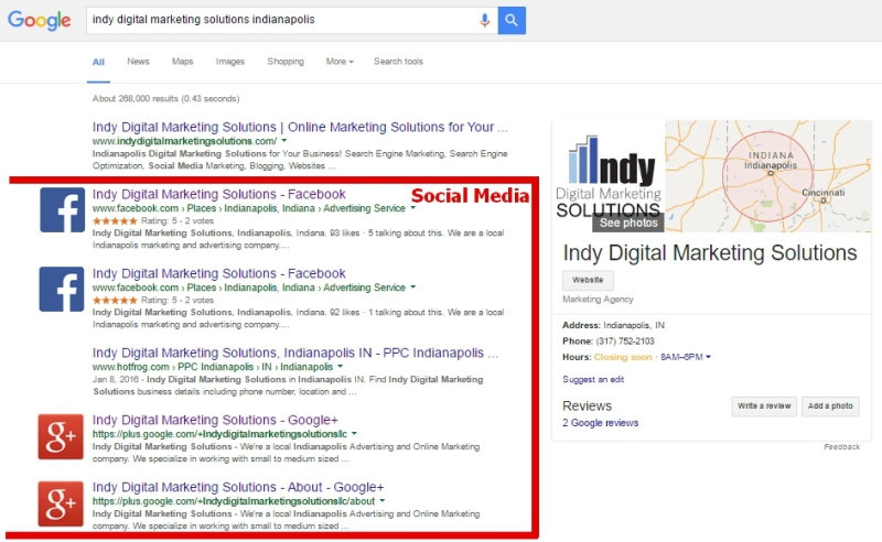 social media management, web presence Indianapolis