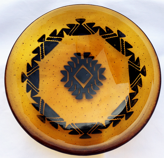 Fused glass, Yurok, Native American, Basket design