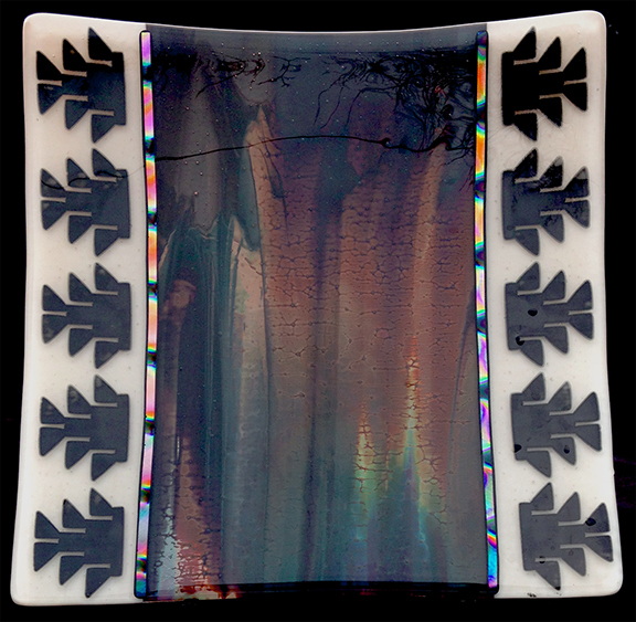 Fused glass, Yurok, Native American, Basket design, dichroic