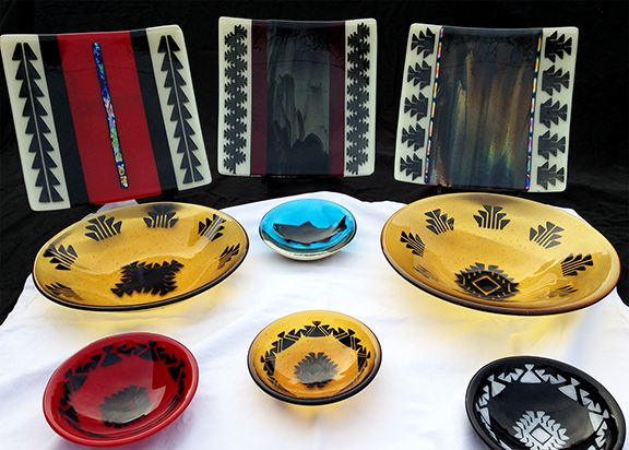 Native American, Fused Glass, Yurok, Bowl, Platter